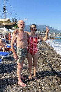 Retired Deputy National Intelligence Officer and member of Veteran Intelligence Professionals for Sanity, Elizabeth Murray, with a Russian Veteran, Ishuk, at a 'Swim for Peace' event in the Black Sea of Crimea.