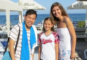 Renata, with her mom, Valerie, came to meet us at the 'Swim for Peace' event.