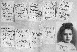 Tanya Savicheva and her diary from 1942.
